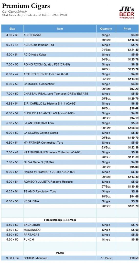 Cigar Price list 042915